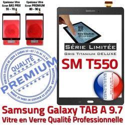 9.7 Tactile Ecran TITANIUM TAB-A Anthracite Galaxy Qualité PREMIUM Prémonté Adhésif Gris Assemblée Grise SM Vitre Verre SM-T550 Samsung T550