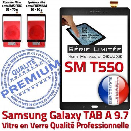 TAB-A SM T550 Noir Metallic 9.7 Samsung Assemblé Vitre Qualité Assemblée Noire Ecran PREMIUM Verre Tactile SM-T550 Adhésif Galaxy