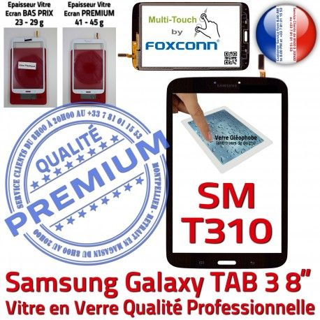 Galaxy TAB 3 SM-T310 Noire en Assemblée pouces Samsung Coller T310 SM Supérieure Ecran Tactile Prémonté 8 PREMIUM Verre TAB3 à Qualité Vitre