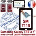 TAB3 LITE SM T113 Noire Galaxy Vitre Samsung Adhésif en SM-T113 Tactile LCD Noir Ecran 7 Prémonté Supérieure Assemblée Qualité PREMIUM Verre