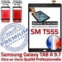 Samsung SM T555 Noir Métallique Ecran Noire Galaxy Assemblé Verre 9.7 Adhésif SM-T555 Assemblée TAB-A PREMIUM Tactile Qualité Vitre