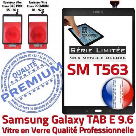 Samsung Galaxy TAB-E SM T563 N SM-T563 Vitre 9.6 Assemblé Verre Tactile PREMIUM Qualité Ecran Assemblée Noir Adhésif Noire Metallic Metal
