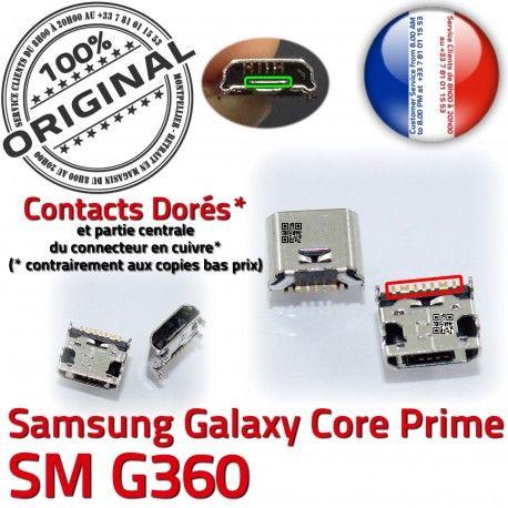 Samsung Prime SM-G360 USB Charge Qualité Pins souder à Dorés ORIGINAL de Micro G360 SM Prise Connector Galaxy charge Core Chargeur Connecteur