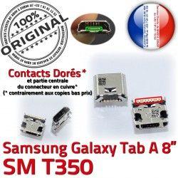 Pins Galaxy Connecteur Dock USB Samsung souder ORIGINAL 8 de A Micro Connector SM charge Chargeur Prise TAB à inch Dorés T350 Tab