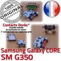 Samsung Core SM-G350 USB Charge Plus Connector de SM Connecteur Pins Prise à souder Qualité Galaxy Chargeur ORIGINAL G350 charge Dorés Micro