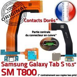 TAB-S Contacts Qualité SM SD Lecteur de T800 Dorés USB Connecteur Galaxy Chargeur Charge SM-T800 ORIGINAL S Samsung Micro Réparation Nappe TAB