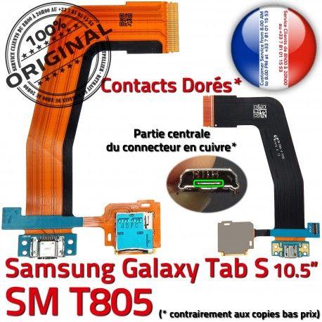 Samsung Galaxy TAB S SM-T805 Ch Port Qualité Charge TAB-S Connecteur de SD Nappe Lecteur ORIGINAL Mémoire Chargeur Prise Doré Micro USB