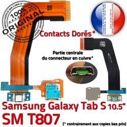 SM Charge Qualité T807 Chargeur SM-T807 ORIGINAL TAB-S S Galaxy OFFICIELLE Micro de Réparation Dorés USB Nappe TAB Contacts Connecteur Samsung Ch