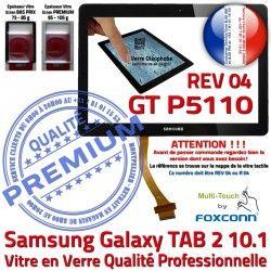 en N Prémonté Vitre R04 TAB-2 10.1 Ecran PREMIUM Tactile REV Verre P5110 Noir LCD Adhésif Qualité Samsung Supérieure Galaxy GT