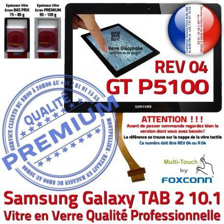 Galaxy TAB-2 GT P5100 REV R04 N Tactile Vitre Noir Ecran Qualité Prémonté en Verre Adhésif 10.1 LCD PREMIUM Samsung Supérieure