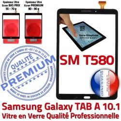 Ecran Supérieure 10.1 Noire Samsung aux Résistante Galaxy Tactile T580 TAB Verre N TAB-A Chocs SM-T580 en Vitre Qualité A SM Noir PREMIUM