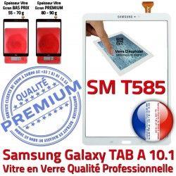 inch SM-T585 Vitre Résistante B aux TAB Galaxy PREMIUM Blanc Supérieure 10.1 Blanche Tactile Verre TAB-A Ecran Chocs Qualité A Samsung