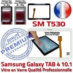 Galaxy TAB4 Qualité Supérieure Tactile Blanc Écran Vitre Adhésif Samsung SM-T530 Blanche Tab4 Complet Complète Verre PREMIUM Prémonté