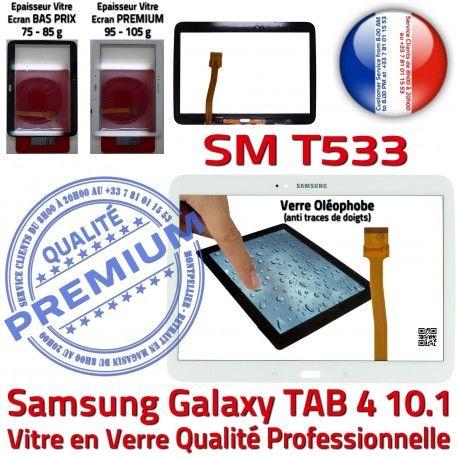 Galaxy SM-T533 Tab4 Blanche TAB4 Samsung Vitre Blanc Tactile Adhésif Écran Prémonté PREMIUM Supérieure Complète Complet Qualité Verre