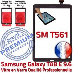 Prémonté TAB TAB-E E Vitre 9.6 Supérieure PREMIUM SM-T561 Tactile SM Assemblée Noire Galaxy Adhésif Qualité T561 Samsung Verre Noir Ecran
