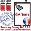 Galaxy TAB-E SM T561 Vitre Noir Noire Samsung SM-T561 Verre Assemblé Tactile Ecran Qualité Supérieure 9.6 Adhésif PREMIUM Assemblée