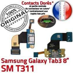 T311 OFFICIELLE TAB3 Galaxy Charge SM-T311 de MicroUSB Qualité ORIGINAL Ch Samsung Connecteur Nappe Réparation Dorés Chargeur TAB SM 3 Contacts