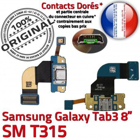 Samsung Galaxy SM-T315 TAB3 Ch ORIGINAL Chargeur 3 MicroUSB Nappe Réparation OFFICIELLE de T315 Connecteur TAB Qualité Charge SM Dorés Contacts