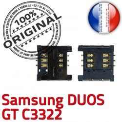 Duos Samsung Connecteur SIM Prise Carte GT souder ORIGINAL à Contacts OR Dorés Pins SLOT c3322 Connector Reader Card S Lecteur