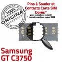 Samsung GT c3750 S Lecteur ORIGINAL Reader souder SIM Connector SLOT OR Carte Card à Pins Dorés Contacts Connecteur Prise