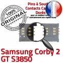 Samsung Corby 2 GT s3850 S SIM Contacts Lecteur Prise Carte Card OR Pins Connector Reader Connecteur ORIGINAL SLOT à souder Dorés