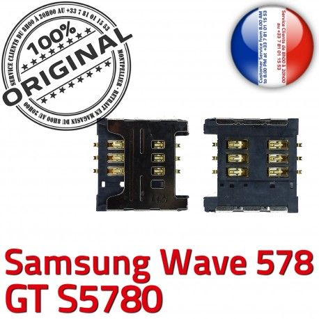 Samsung Wave 578 GT s5780 S Dorés ORIGINAL Lecteur OR à Contacts souder Carte Card Pins SLOT SIM Connecteur Reader Prise Connector