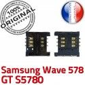 Samsung Wave 578 GT s5780 S Dorés ORIGINAL Lecteur OR à Contacts souder Carte Card Pins SLOT SIM Connecteur Reader Prise Connector