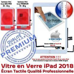 Vitre AIR Ecran Oléophobe inch Réparation Verre HOME Bouton 9.7 Monté Caméra Nappe iPad Fixation Adhésif Tablette Qualité Tactile 2018 Blanc