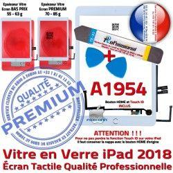KIT iPad Vitre Réparation Adhésif Bouton HOME B Nappe Qualité Outils A1954 PACK Verre Tactile AIR Oléophobe Precollé PREMIUM Blanche
