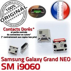 charge souder i9060 Galaxy à Connecteur Samsung USB Connector Micro GT Dock Qualité Pins ORIGINAL NEO Prise Grand Dorés Chargeur