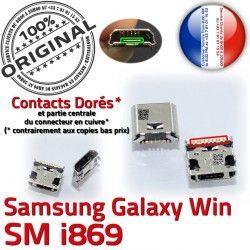 Pins MicroUSB Samsung SLOT Dock Prise ORIGINAL charge Connector GT-i869 Fiche Galaxy Chargeur Win de Dorés Qualité souder USB à