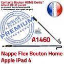 Nappe Bouton Home iPad 4 A1460 Autocollant Remplacement Poussoir Accueil iPad4 Flex Châssis Adhésif Tablette Apple Réparation Qualité