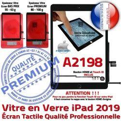 Ecran HOME Qualité iPad Nappe Vitre Adhésif 2019 Réparation Caméra IC Noir Tablette Monté Verre Tactile A2198 Oléophobe Fixation