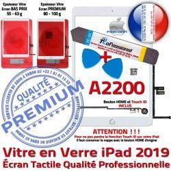 Blanche Tactile 2019 Oléophobe B PACK PREMIUM Vitre Adhésif Qualité Precollé Nappe A2200 KIT Outils HOME iPad Bouton Verre Réparation