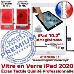 Bouton Caméra Oléophobe Blanc Adhésif Qualité Vitre Fixation Remplacement Verre 2020 B Ecran HOME PREMIUM A2429 Tactile A2430 iPad A2428 Precollé A2270
