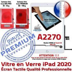 Monté Fixation Oléophobe HOME Caméra Réparation 2020 Blanc iPad Qualité Ecran Adhésif A2270 Verre Tablette Nappe Tactile Vitre