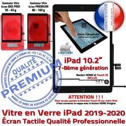 Remplacement Caméra iPad Oléophobe Verre inch 10.2 Tactile Qualité 2019-2020 Noir Precollé PREMIUM Fixation Ecran Adhésif Vitre