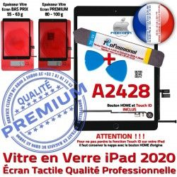 Outils Verre Adhésif KIT iPad Vitre Precollé Tactile N 2020 Noire PREMIUM Oléophobe Démontage Bouton HOME PACK Qualité A2428 Réparation