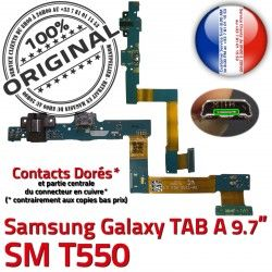 USB T550 Charge SM A Connecteur Nappe Galaxy Réparation Samsung OFFICIELLE Micro de ORIGINAL Doré Qualité C SM-T550 Contacts TAB Chargeur