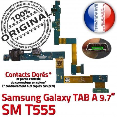 Samsung Galaxy TAB A SM-T555 C Charge T555 Chargeur Connecteur OFFICIELLE Réparation Doré Contact SM Nappe ORIGINAL Qualité de MicroUSB