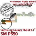 Samsung TAB A SM-P550 Galaxy C de USB OFFICIELLE Chargeur ORIGINAL Qualité Connecteur Doré P550 SM Micro Contacts Nappe Réparation Charge