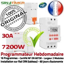 7kW 7200W Contacteur Automatique Arrosage Électronique 30A Heures Creuses Programmateur Jour-Nuit DIN Hebdomadaire Rail Programmation