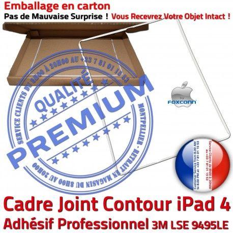 Joint Plastique iPad 4 B Tactile Châssis Réparation Vitre Contour ABS Autocollant Cadre iPad4 Apple Ecran Blanc Adhésif Precollé Tablette