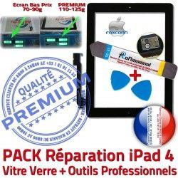 Adhésif Réparation 4 A1460 N Tablette Noire Qualité Outils Oléophobe Vitre Bouton iPad PREMIUM iPad4 PACK Tactile HOME A1458 Démontage A1459 Verre KIT Precollé