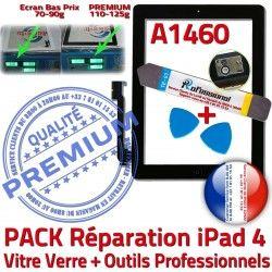 PREMIUM Noire Oléophobe iPad4 Bouton Outils 4 KIT Vitre N Tactile PACK Qualité A1460 HOME iPad Verre Adhésif Démontage Precollé Réparation