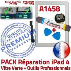 B Vitre Qualité 4 Oléophobe Démontage PACK Outils Bouton Adhésif Réparation KIT HOME iPad Verre Tactile iPad4 Blanche Precollé PREMIUM A1458