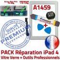 PACK iPad4 A1459 B HOME Outils Réparation Démontage Adhésif KIT 4 Tactile Oléophobe Qualité Precollé Blanche Vitre PREMIUM iPad Verre Bouton