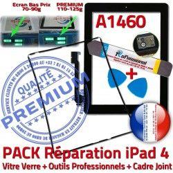 4 Apple iLAME iPad A1460 Tablette Adhésif Bouton Precollé Chassis Réparation PACK Noire Verre Tactile Outils iPad4 Cadre Vitre HOME Joint KIT N