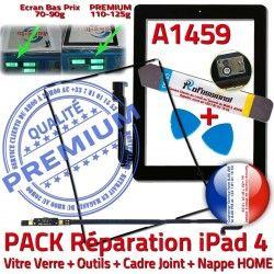 Nappe PACK Tactile Outils N Vitre Noire HOME Verre Adhésif Réparation A1459 iLAME Bouton Joint Cadre Precollé Tablette KIT iPad4 Apple