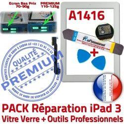 iPad3 Verre Outils Qualité Bouton PACK KIT A1416 iPad Adhésif PREMIUM Precollé HOME Vitre 3 B Démontage Blanche Oléophobe Tactile Réparation
